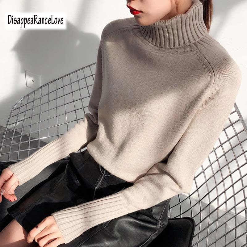 Winter Thicken Warm Oversize Sweater Women 2019 Vintage Brief Basic High Neck Pullovers Knitted Jumper Female Turtleneck Sweater