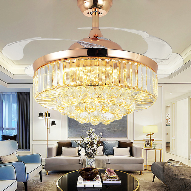 42 Inch Invisiable Crystal Ceiling Fan Light Modern Luxury Dining Room Ceiling Fan Lamp 4 Fan Blade