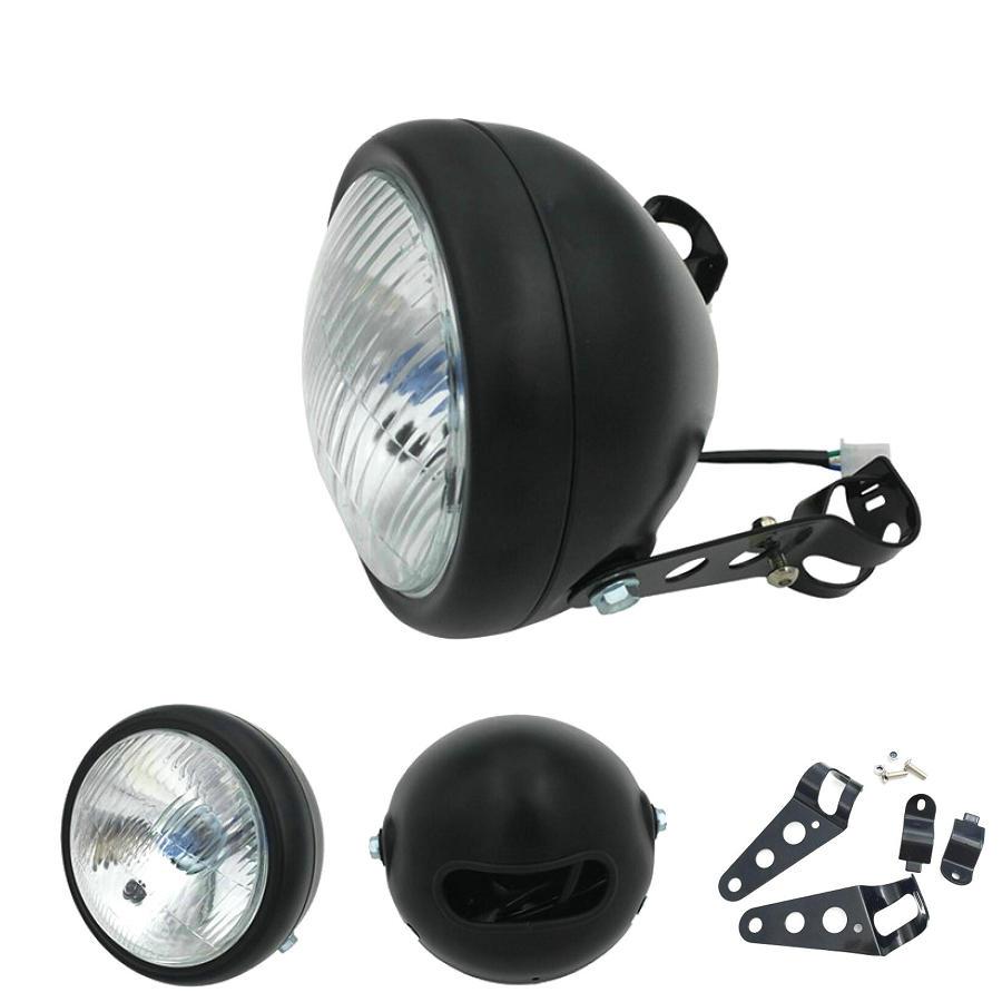 Chrome Black Cafe Race Front Head light Decorative Light Modified Motorbike Light Headlight Motorcycle Vintage