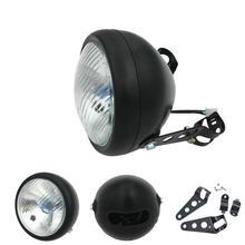 Lumière frontale chromée noire de café moto