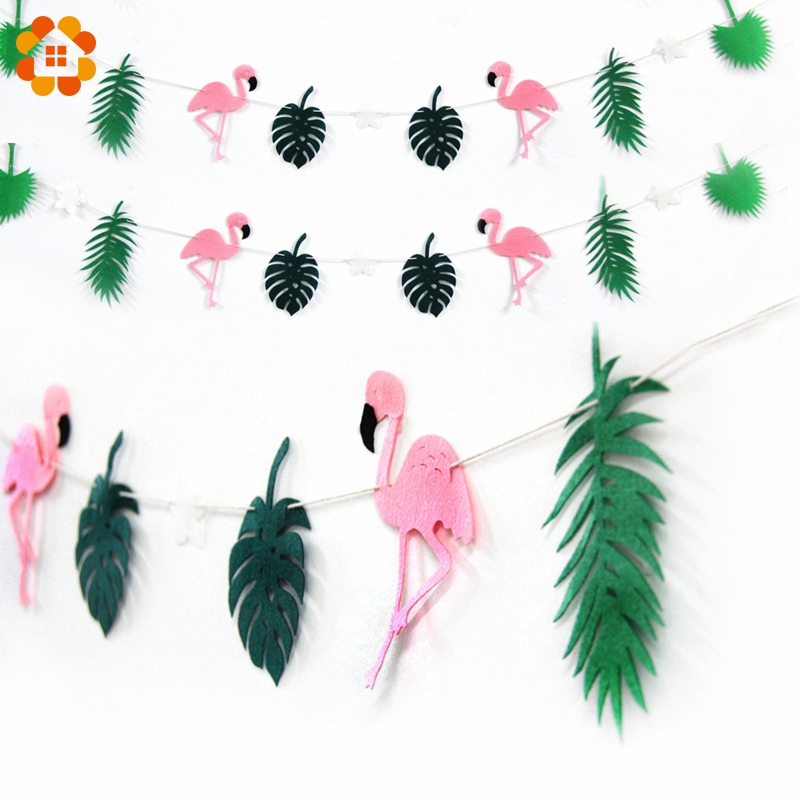 1Set Non-woven Fabric Flamingo Banner Cocunut Leave Bunting Garland Party Favor Decoration Swimming Pool Hawaiian Party Supplies