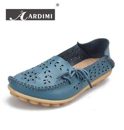 ГОРЯЧИЕ продать Вырезы обувь из натуральной кожи женщина 9 цветов дамы бездельники случайные квартиры обувь мода плоские туфли женщины мокасины