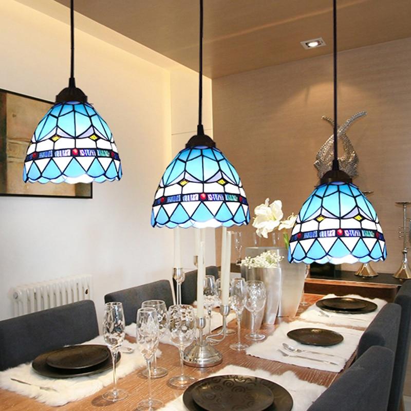 Akdeniz LED Yuvarlak Demir Cam Kolye Işık Süspansiyon Armatür - İç Mekan Aydınlatma - Fotoğraf 4