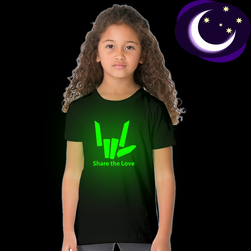 T-Shirt Girls Share Street-Style Glow-In-The-Dark The-Love Tees Short-Sleeves Boys Fashion