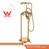 WELS AND CUPC Approval Antique Brass Bathroom Shower Set Floor Mount Freestanding Bathtub Filler Bath Tub