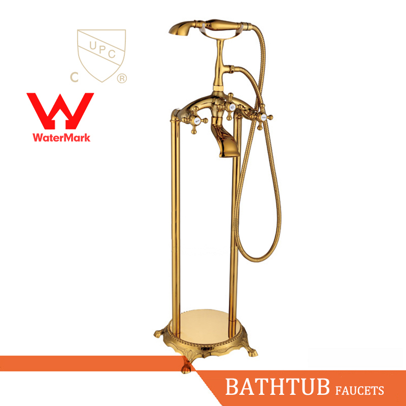 WELS AND CUPC Approval Antique Brass Bathroom Shower Set Floor Mount Freestanding Bathtub Filler Bath Tub Faucet Antique Brass ...