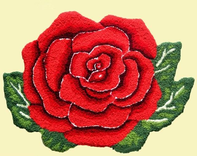 Rose Flower Shaped Rug/mat 4 Color Bedroom Rose Bath Mat Carpet