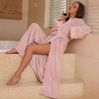 QWEEK Flannel Female Robe Sleepwear