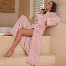 QWEEK Flannel Female Robe Women Sleepwear Autumn Winter Bathrobe Thick Home Wear Women Long Robe Lingerie
