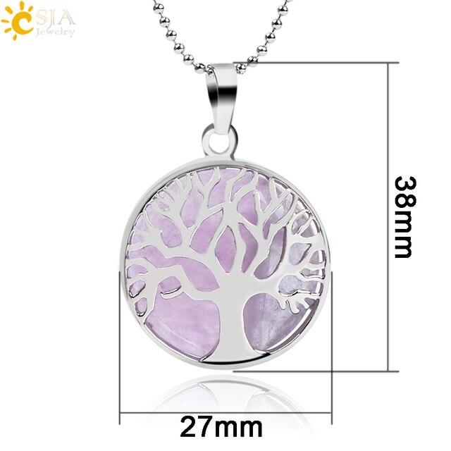 Natural Round Gem Stone Kabbalah Tree of Life Necklaces 5