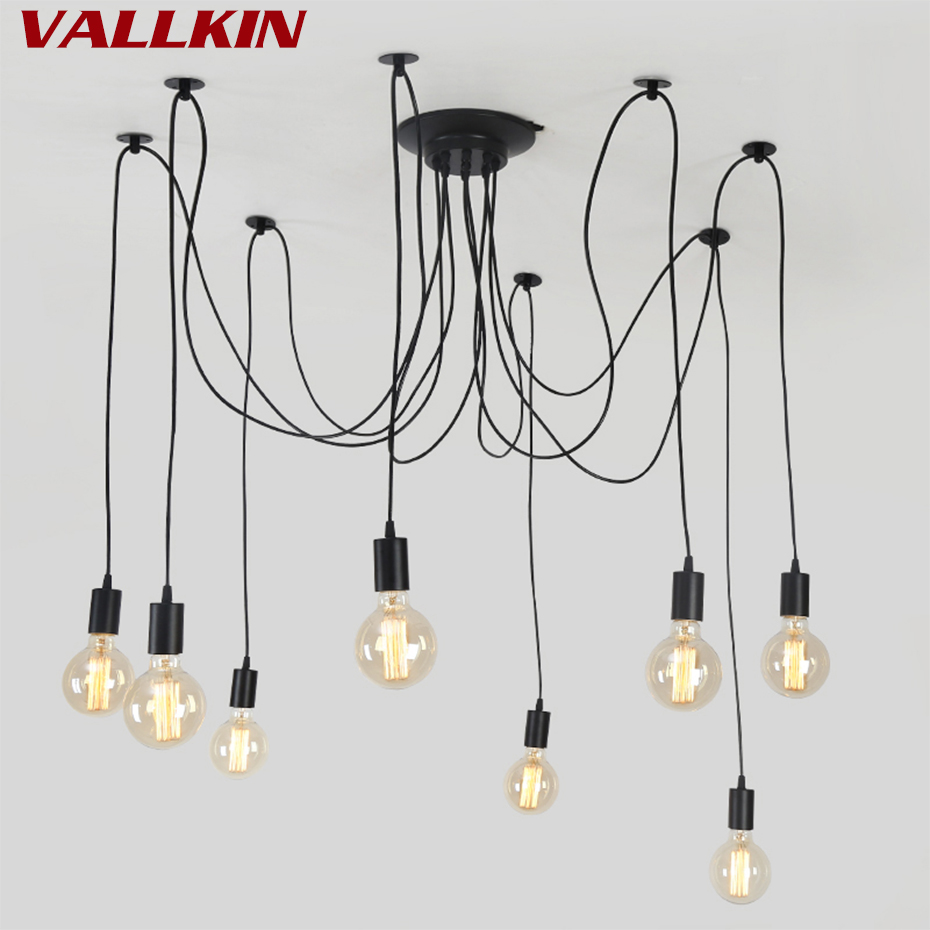e27 ac 110v 220v loft retro big spider chandelier lighting diy 6 8 10 12 14 lights vintage black chandeliers modern e26 lamps Modern Retro Edison Chandelier Lighting Vintage Loft Antique Adjustable DIY E27 Spider Pendant Hanging Lamp Home Lamps Fixtures