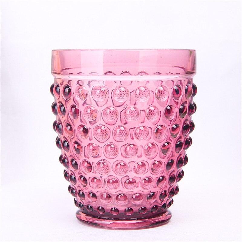 Coloured Bulge Polka dot Glass Creative Restoring Ancien Red Wine Glass Ice Juice Cup Skidproof Colorful Tea Water Mug 1pcs