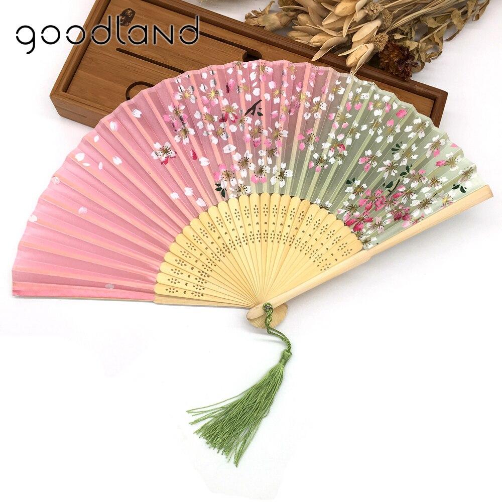 Bezmaksas piegāde 1gab Jauns ierašanās augstas kvalitātes burvīgs ziedu drukas kabatas ventilators bambusa zīda roku ventilators Ziemassvētku dāvana Kraft