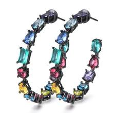 SisCathy Trendy Crystal Statement Big Hoop Earrings For Women Wedding DUBAI Bridal Round Circle Earring 2019 New Fashion Jewelry