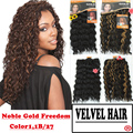 "1PC+Free Shipping Noble Gold Freedom Synthetic Hair Extensions Wavy Hair Weaving Machine Hair Weft 18"" Color 1,1B/30 Curly Weave"