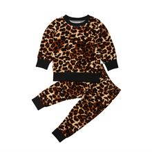 Fashion 2PCS Toddler Kids Baby Girls Leopard Tops Long Sleeve T shirt Pants Autumn Outfit Clothes Set 2019 3pc toddler baby girls clothing denim t shirt tops long sleeve leopard skirt set kids clothes girl outfit