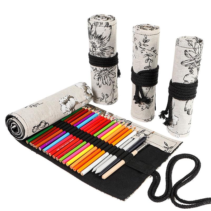 Kawaii School Roll Pencil Case For Girls Boys Pena Pencilcase Large Big 12/24/36/48/72 Holes Pen Bag Korean Canvas Penalties Kit