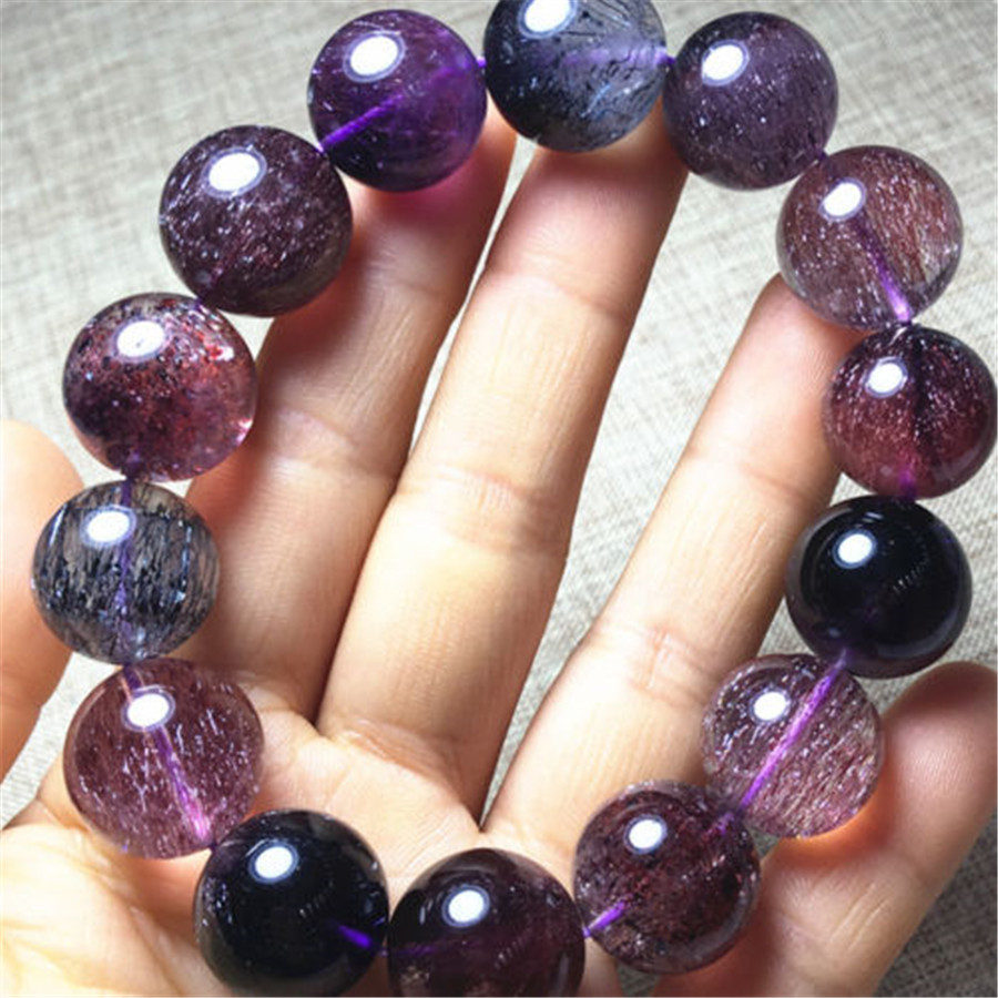 Genuine Natural Super 7 Seven Crystal Melody Stone Beads Bracelet 16mm AAAAA