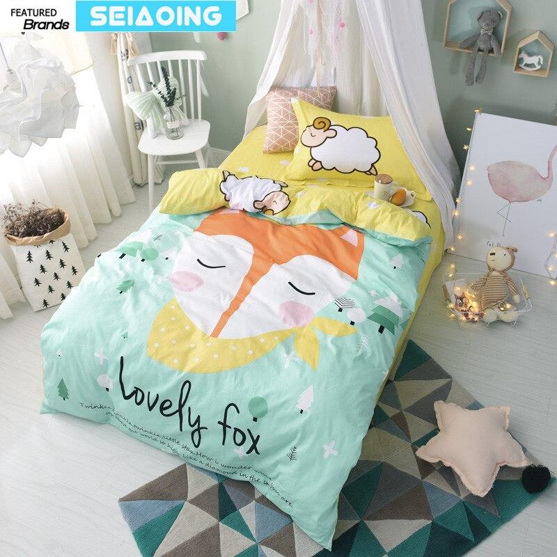 Twin size bedding set 100% cotton girls cartoon fox animal ...