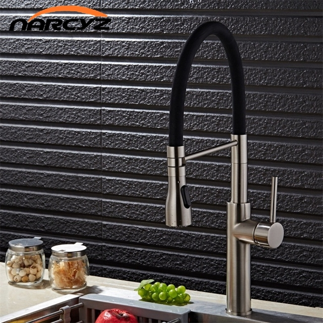 Narcyz Brushed Nickel Kitchen Faucet 100 Solid Brass Single Handle