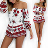 Boho Red Floral Print Off Shoulder Playsuits Women Elegant Backless Summer Jumpsuits Rompers Sexy Beach