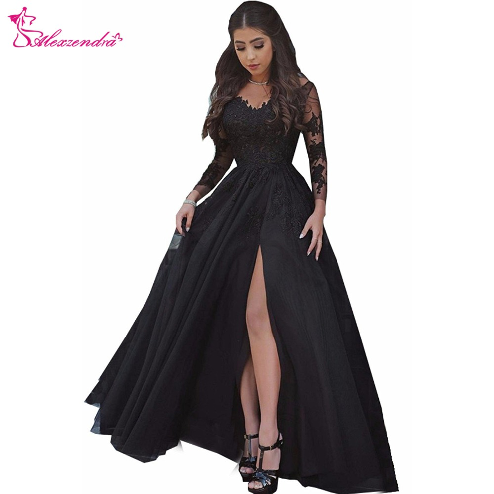 Alexzendra Black Long   Prom     Dresses   2019 Long Sleeves Applique Side Slit New Party   Dresses   Plus Size Customize