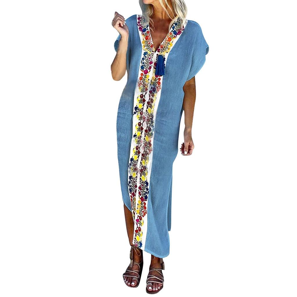JAYCOSIN Women Vintage Bohemian V-Neck Short Sleeve Pleated Printed Colour Slit Dress Loose Butterfly Sleeve  Sexy Dress June 15