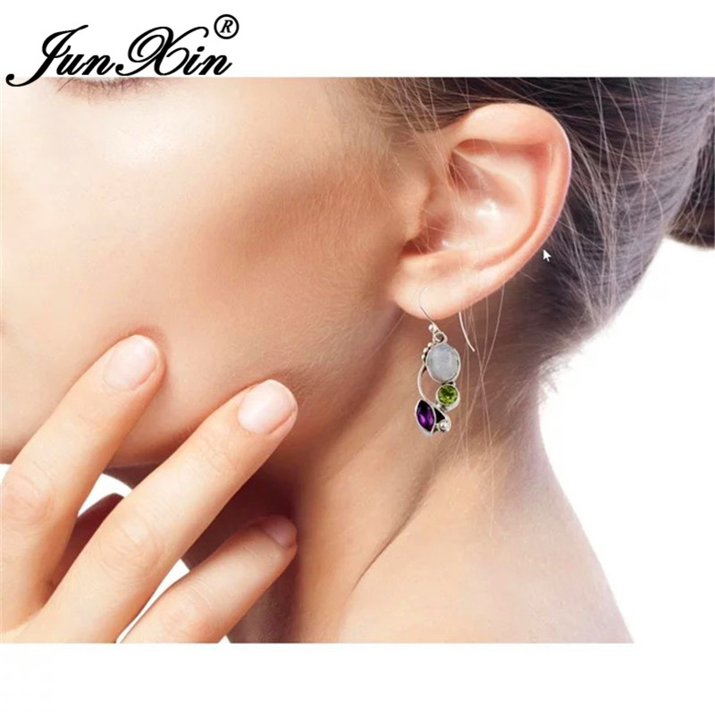 HTB1ryZmXZnrK1RjSspkq6yuvXXac - JUNXIN Antique Silver Geometry Moonstone Drop Earrings For Women Boho Round Red Blue Opal Earrings Female Zircon Wedding Jewelry