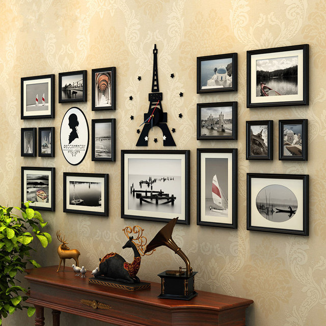 Creative 16 Pcs Set Collage Photo Frame With Tower Clock Black White Frames