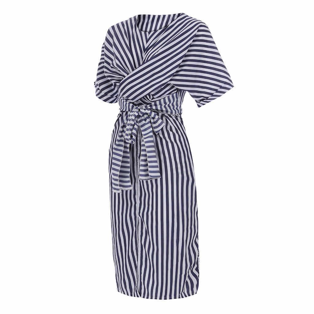 女性の夏のストライプのドレスの綿ブルーストライプ包帯ボヘミアンビーチドレススプリットロングドレスロングドレス Ropa デ mujer #15