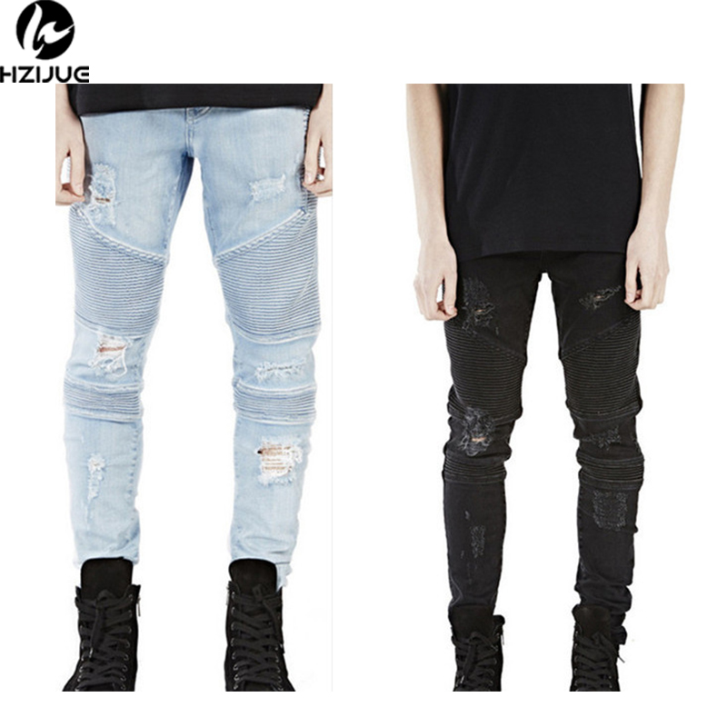 HZIJUE 2017 High Street Mens Ripped Rider Biker Jeans Slim Fit Washed Black Grey Blue Moto