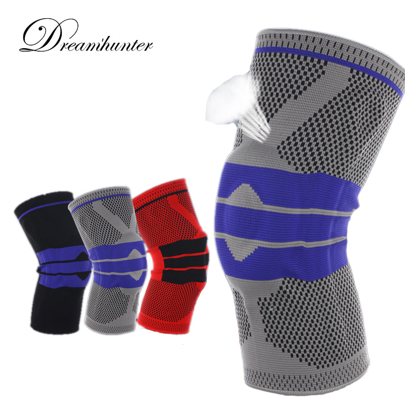 1 piece Spring Knee Protector Brace Silicone Knee Pad Basketball Knitted Compression Knee Sleeve Support Sports Breathable guard цена