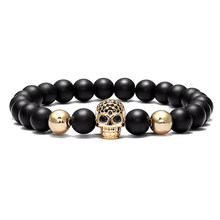 LIVVY Popular high quality fashion hollow charm bracelet men's and women's CZ skull men's bracelet lava rock jewelry gifts(China)