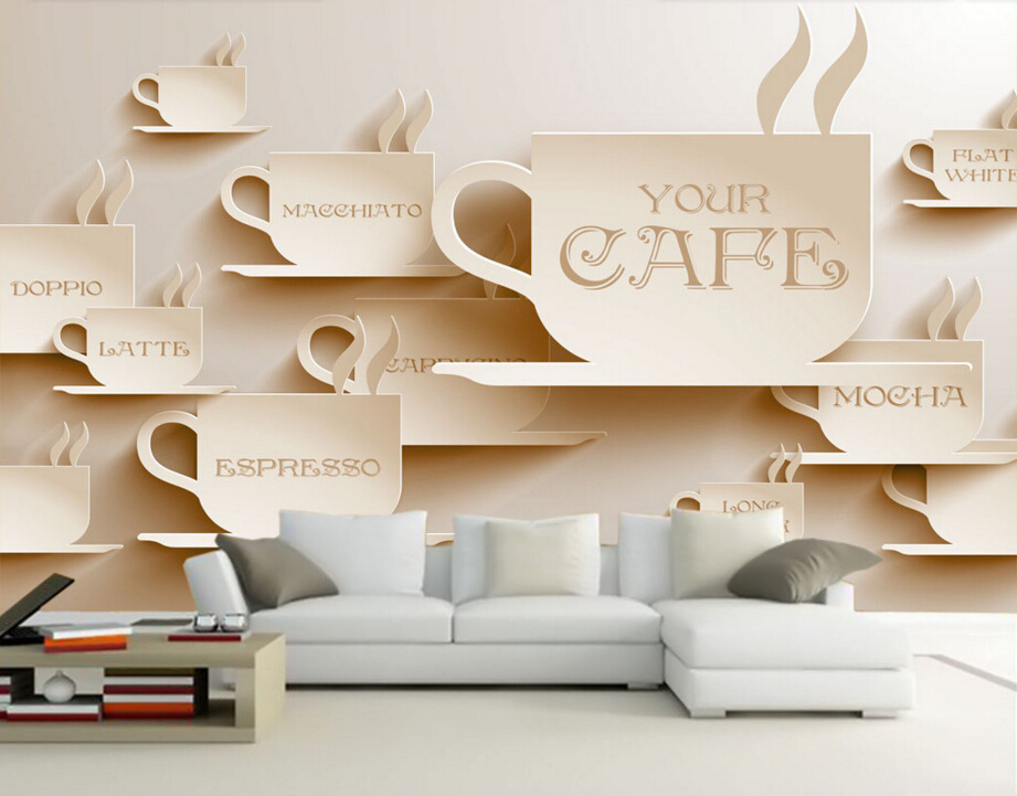 Custom food store wallpaper,Three-dimensional coffee,3D retro mural for the restaurant cafe hotel background wall PVC wallpaper free shipping custom 3d mural retro european buildings in paris coffee hall the television background wall wallpaper