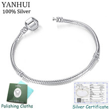 Free Sent Certificate Original 925 Sterling Silver Bracelets for Women Snake Bone Charm Bracelet Vintage Fine Jewelry NSL005(China)