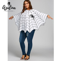 AZULINA Halloween Spider Web Printed Plus Size Poncho Blouse 2017 New Blouse Ladies Loose Casual Pullovers