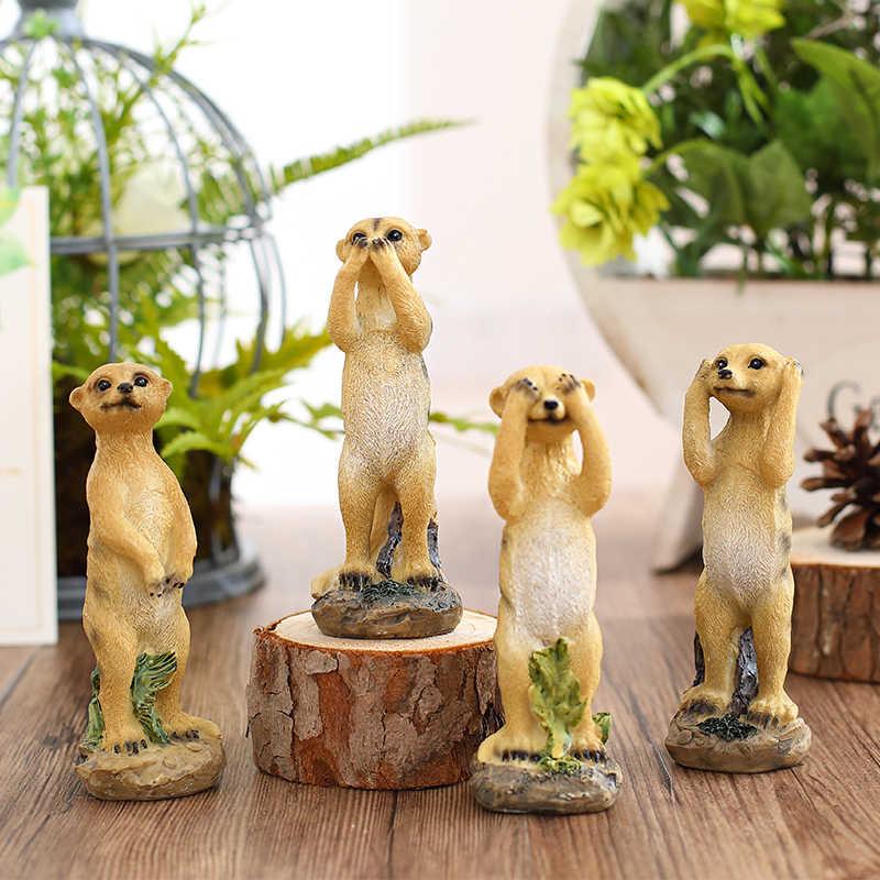 Moderno display meerkat resina ornamento do agregado familiar em miniatura animal dos desenhos animados criativo linda casa decoração artesanato presente das crianças