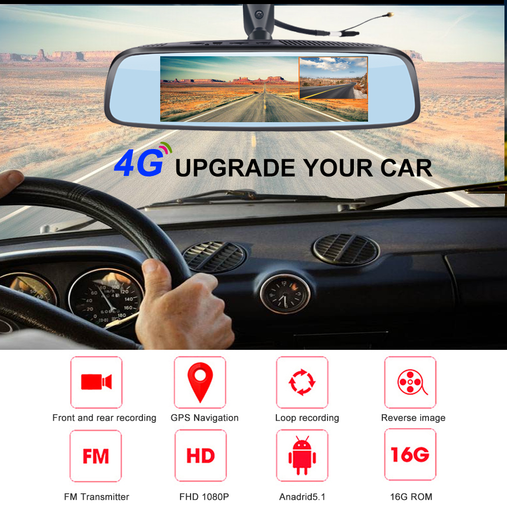 Phisung G07 Android Coche Rearview Mirror DVR ADAS GPS 4G WiFi 16G Dash Cámara
