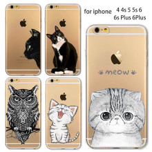 Phone Case For Apple iPhone 4 4S 5 5S SE 5C 6 6S 6Plus 6s Plus Soft TPU Silicon Transparent Thin Cover Cute Cat Owl Animal Case