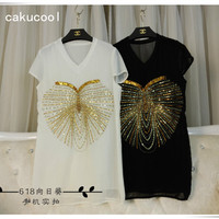 Cakucool New Women Beading Silk Summer T Shirt Short Sleeve V Neck Sexy Shirt Club Party