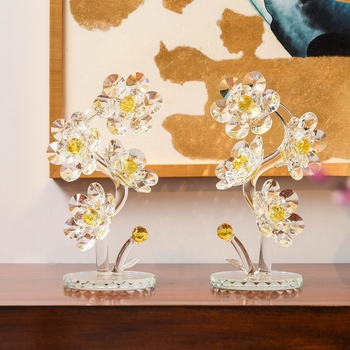 Free shipping Xmas Gifts Crystal Flowers Figurines Paperweight Glass Art Table Ornaments Souvenir Home Wedding Decorative