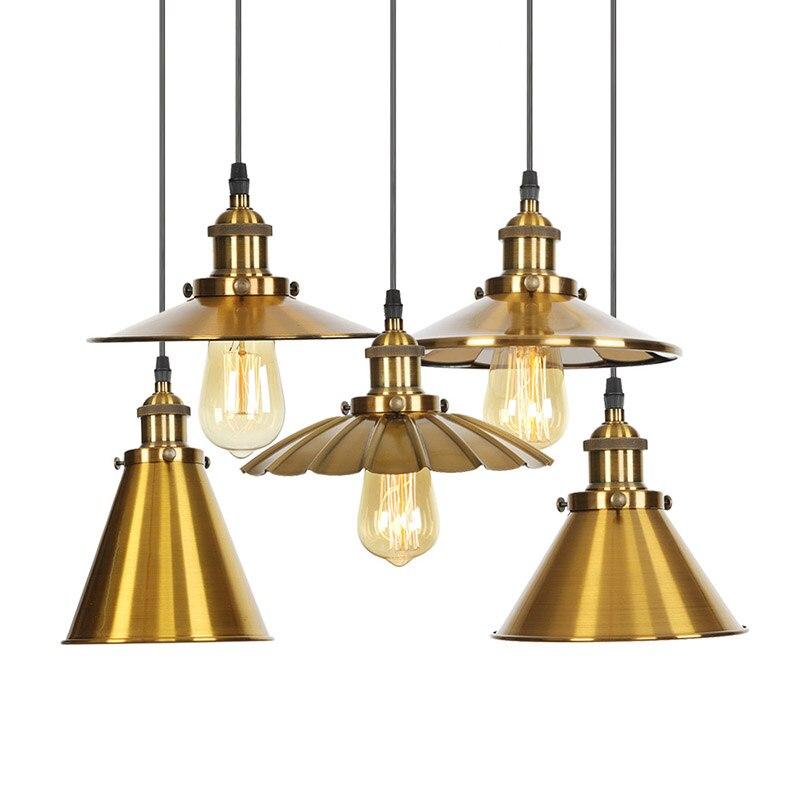 Lampes et lanternes en fer à tête unique en Bronze nordique bar restaurant style américain rétro lustre en laiton industriel