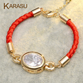 New Arrival Fashion 1.5cm CZ Diamond Gold Plated Double Sided Lucky Red Thread String Rope Charm Bracelet for Women Jewelry
