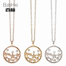 BAIHE Solid 14K Yellow Gold 0.10ct Certified H/SI 100% Genuine Natural Diamonds Engagement Women Trendy Fine Jewelry Necklaces