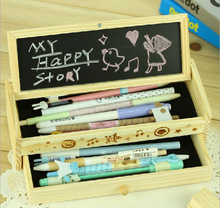 Free shipping wooden Pencil case toys Educational pen boxes Kids wooden DIY multi function chalkboard one