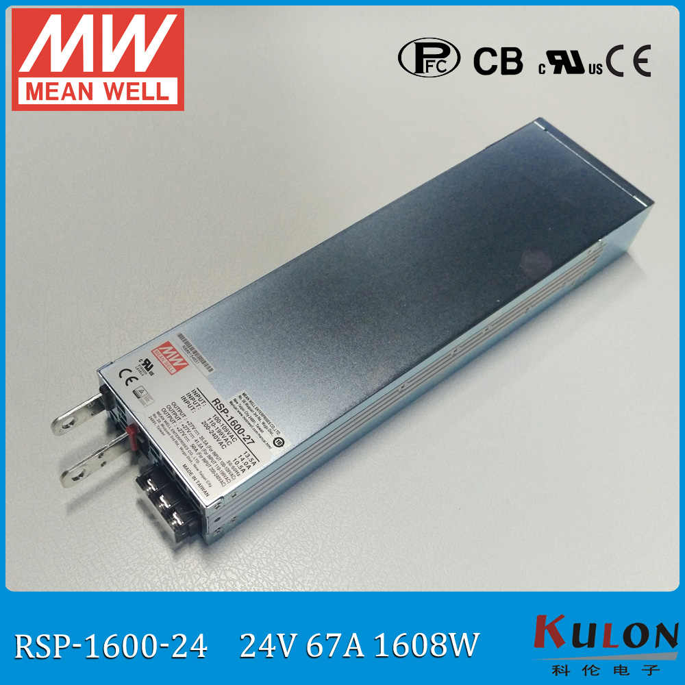 Original MEAN WELL RSP-1600-24 1600W 67A 24V ac/dc meanwell Power Supply 24V with PFC output programmable Parallel operation original mean well msp 100 24 ac dc single output supply 24v 108w 4 5a switching power supply medical safety approved with pfc