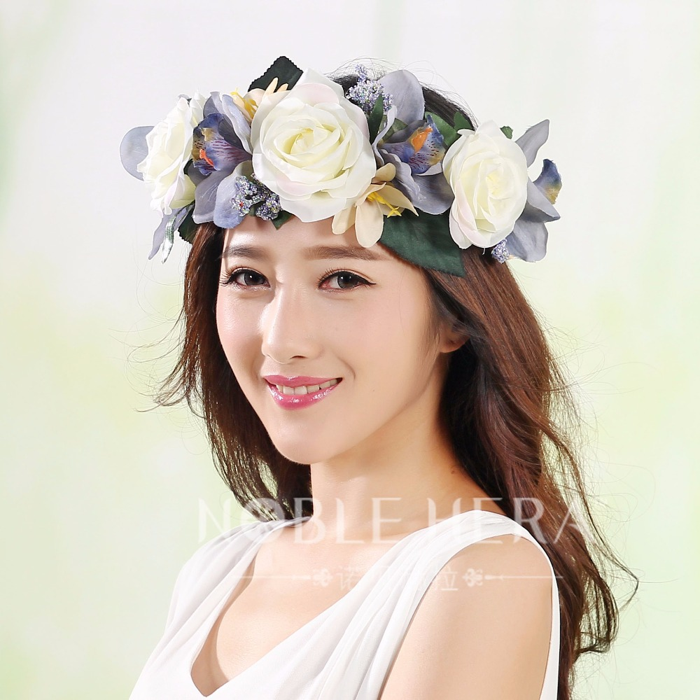 2016 Big rose flower exaggerate crown hair flower headdress wreath band wreath for wedding vintage Travel