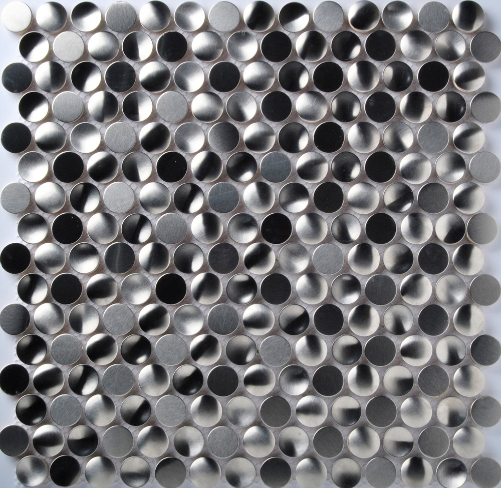 Tst Stainless Steel Mosaic Tile Silver Round Chips With Porcelain
