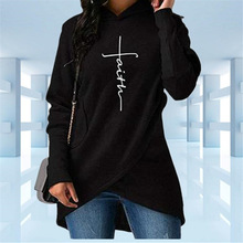 New Fashion High Quality Large Size Faith Print Kawaii Sweatshirt Femmes Hoodies Women Youth Female Creative Tops S-3XL