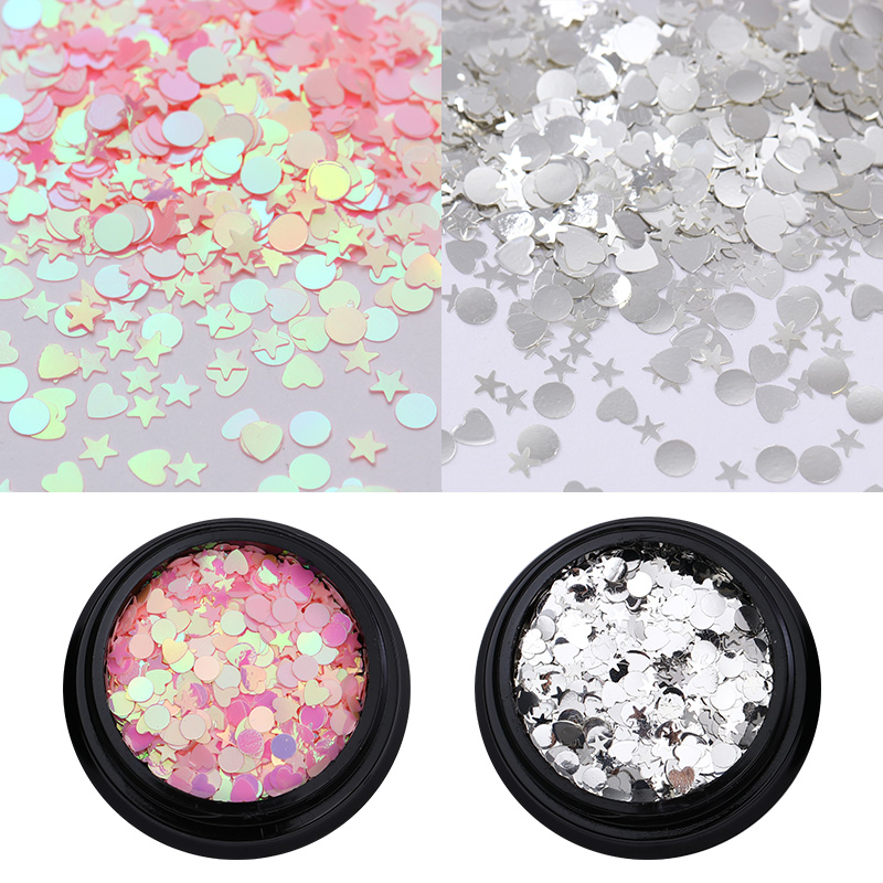 1g Pink Silver AB Color Nail Sequins Iridescent Flakes Star Heart Round Rhombus Nail Glitter Paillette Nail Art Design гирлянда star trading ab сердечки 1 9m white 726 10